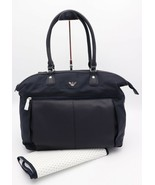 NWT Armani Junior Navy Blue Leather Nylon Diaper Changing Baby Bag Tote ... - $245.00