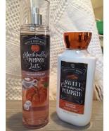 Bath & Body Works PUMPKIN Marshmallow Latte Fragrance Spray Cinnamon Body Lotion - $37.90