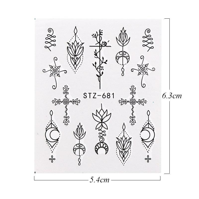 Nail Sticker Water Transfer Slider Black Jewelry Lace Design Nail Art Stickers