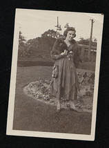 Vintage Antique Photograph Woman Standing in Garden Wearing Cool Outfit - $6.93
