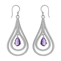 Pear Cut Amethyst 925 Sterling Silver Twisted Rope Design Long Dangle Ea... - $32.78
