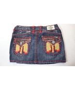 Laguna Beach Jean Co Denim Mini Skirt Red Crystals Red Stitching Womens ... - $22.76