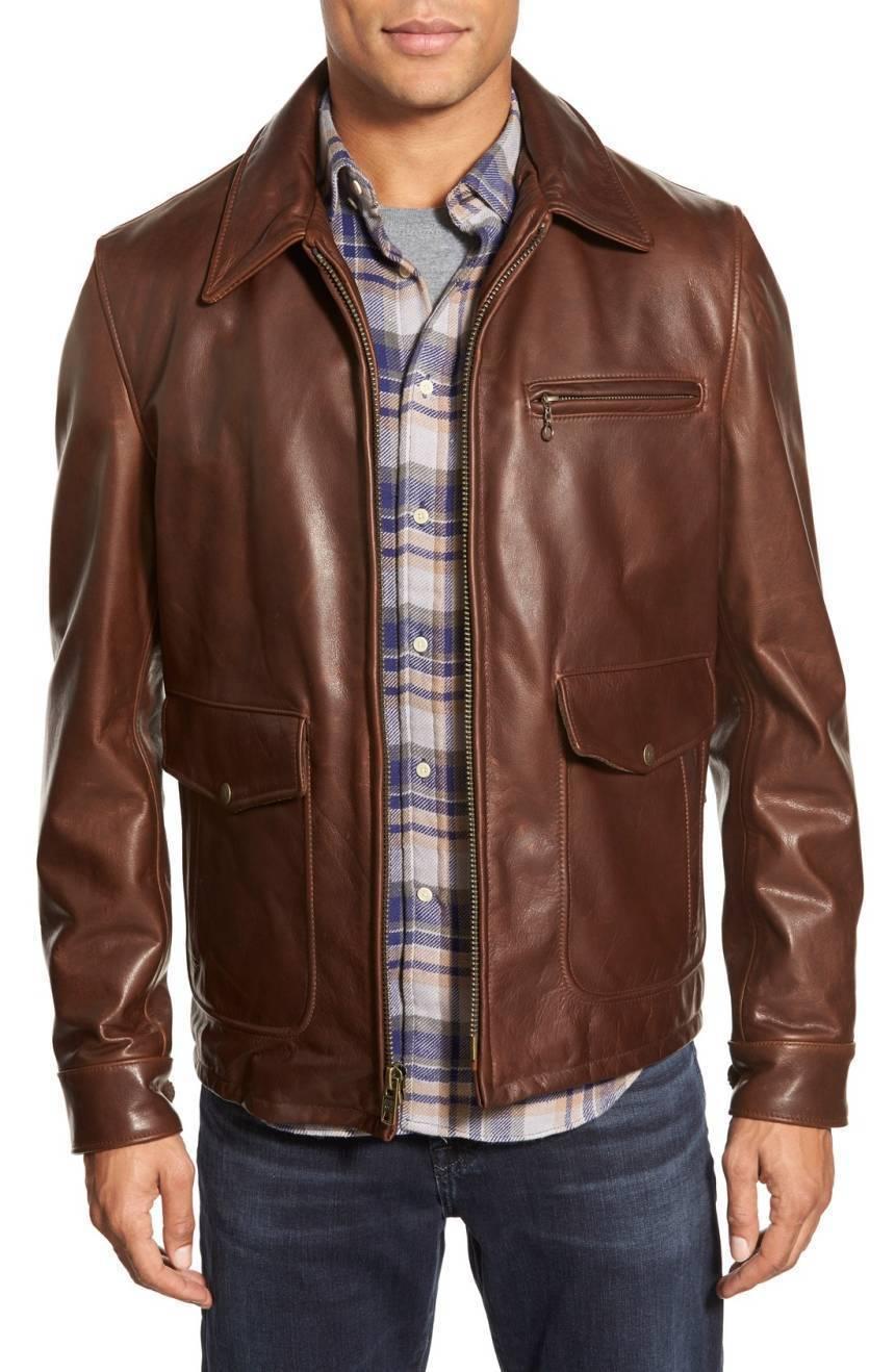 New Men's Genuine Lambskin Leather Jacket  Slim fit Biker Motorcycle jacket-G42