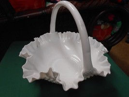 Outstanding Vintage FENTON Milk Glass Ruffled Edge Hobnail Large BASKET - $71.86