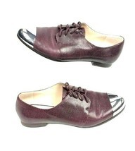French Connection Women EUR 38 USA 8 Oxford Shoes Metal Cap Toe Brown Le... - $39.99