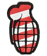 Grenade Patch Red White Stripes Embroidered Ion-On Patch - 2.25 x 3.5 inch - $6.60
