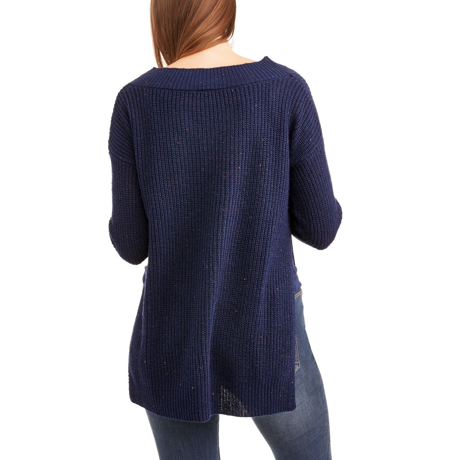 Faded Glory Women's V Neck Hi Low Tunic Sweater Size XXL (20) New Sapphire