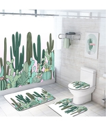 4pcs Bathroom Shower Curtain Nonslip Bath Mat Pedestal Toilet Seat Cover... - $41.99+