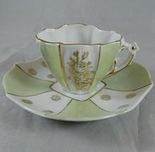 Vintage Mint Green & Gold Floral Porcelain Demitasse Cup & Saucer Flowers 274 - $23.48