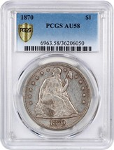 1870 $1 PCGS AU58 - Just Touches of Wear - Liberty Seated Dollar - $1,387.10