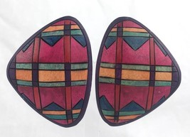 Large WOODEN EARRINGS Pierced Post Stained Wood Dark Pink Green Yellow - $7.96