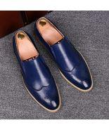 Handmade Men Wing tip Blue Leather Moccasins, Men Blue Loafer Slip Ons S... - $169.99