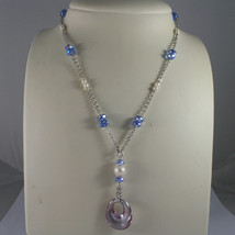 .925 SILVER RHODIUM NECKLACE WITH BLUE CRYSTALS, WHITE PEARLS AND DROP OF ZIRCON image 1