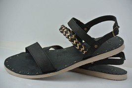 UGG Elin Womens Sz 11 Black Gold Braided Leather Strappy Sandals 1015035 - $39.59