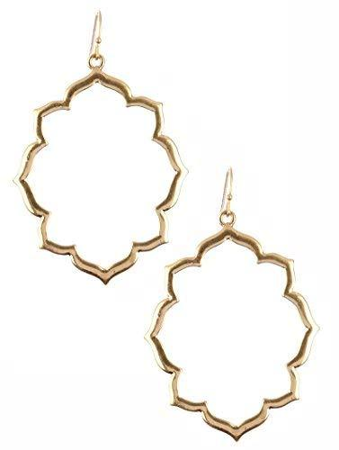 Quatrefoil Cut Out Dangle Earrings (Goldtone)