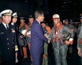 President John F. Kennedy greets pilots aboard USS Enterprise New 8x10 P... - $8.81