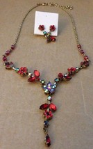 Vintage Gold Rhinestone Flower Adjustable Necklace & Earrings Set-Avon H... - $62.29