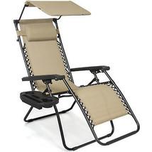 Folding Zero Gravity Recliner Lounge Chair W/ Canopy Shade & Magazine Cu... - $66.90