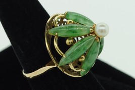 Vintage (ca. 1950) 14K Yellow Gold Large Jade and Pearl Flower Ring (Siz... - $585.00