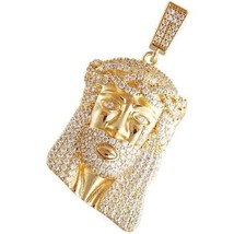 14K Gold Color Micro Pave Crying Jesus Pendant Fashion jewelry - $49.49