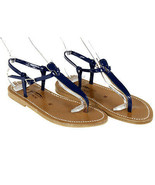 K Jacques St. Tropez Picon Navy Patent Sandals 6Eu 36 Made In France - $119.59