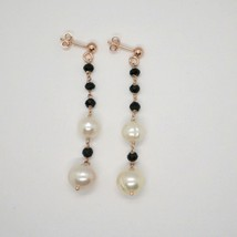 Drop Earrings Silver 925 Laminated in Rose Gold with Pearls and Onyx Black image 2