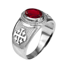 Sterling Silver Jerusalem Cross Red CZ July Birthstone Ring - $49.99