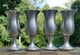 Vintage Handmade Preisner Pewter Set (4) Pedestal Liquor Cups with Satin... - $9.89