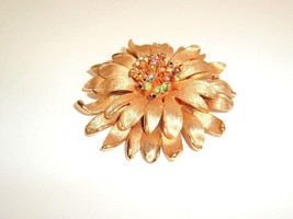Vintage Rhinestone Flower Brooch Pin Large 3D Mod hippy statement pastel - $17.95