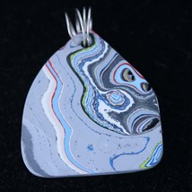 "Fordite pendant, gray light blue yellow white black red pink, ""Lavender ... - $112.00"