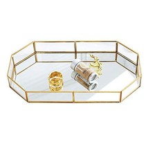 Decorative Tray ,Vintage Glass Jewelry Tray with Mirrored Bottom Vanity ... - $51.26