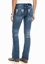 New! MISS ME ~Size 28~ Feather Pocket Boot Cut Women's Blue Jeans Denim NWT - $70.99