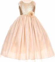 Flower Girl Dress Elegant Sequin Bodice Floor Length Champagne CC 1204 - $49.49+