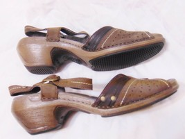 MERRELL Luxe Strap Mid Heel Sandals Shoes Sz 7 Coffee/Brown Leather Walk... - $39.00