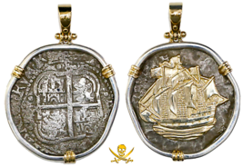PENDANT BOLIVIA JEWELRY 1654 8 REALES PIRATE GOLD COINS CAPITANA SHIPWRE... - $1,795.00