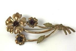 Vintage Victorian Purple Rhinestone Flower Gold Tone Brass Brooch Pin si... - $17.81