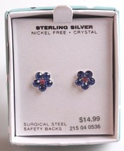 Girls Sterling Silver 925 9mm Purple Pink Crystal Flower Post Stud Earrings NIB