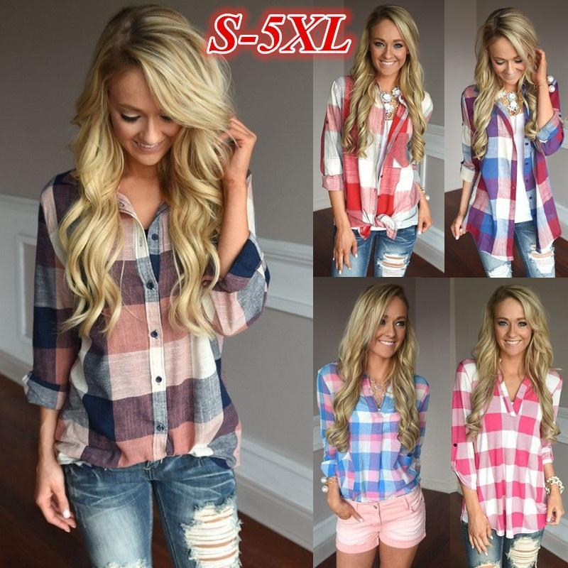 Women's Fashion Matching Color Long Sleeve Loose V-neck Plaid Shirt S-5XL ZH5100