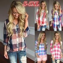Women's Fashion Matching Color Long Sleeve Loose V-neck Plaid Shirt S-5XL ZH5100