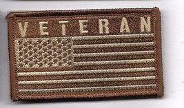 VETERAN DESERT FLAG  2 X 3  EMBROIDERED PATCH WITH HOOK LOOP - $15.33