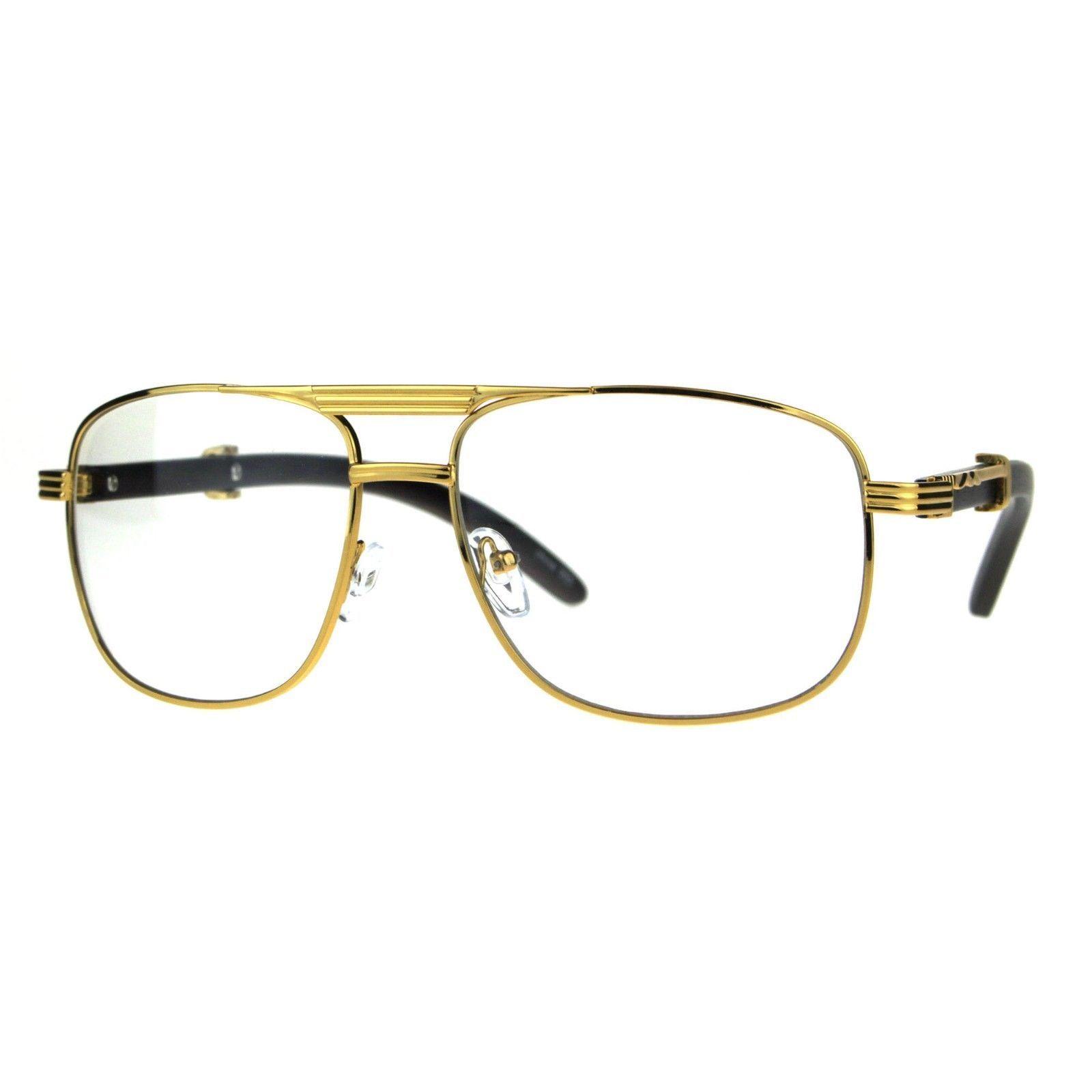 2315c4b37f 57. 57. Previous. Mens Clear Lens Glasses Square Navigator Wood Buff  Fashion Eyeglasses