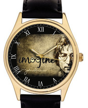 JOHN LENNON IMAGINE VINTAGE SEPIA PARCHMENT ART COLLECTIBLE 40 mm WRIST ... - $89.99