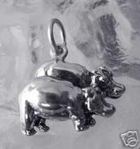 COOL Hippopotamus Silver Charm Hippo pair in love noah's ark - $18.35
