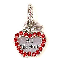 Brighton Teacher Charm, J93642 Silver Finish, Red Crystals, New - $18.05