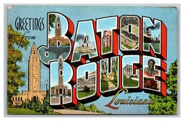 Vintage 1940's Postcard Greetings From Baton Rouge Louisiana - State Cap... - $15.81