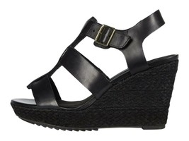 Clarks Maritsa 95 Glad Black Women's Leather Wedge Platform Sandals 49294 - $108.00