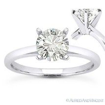 Round Brilliant Cut Moissanite 14k White Gold 4-Prong Solitaire Engageme... - £375.05 GBP+