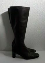 Lauren Ralph Lauren Women 8.5 B Knee Boots Zip up square toe Brown Leather Italy - $32.67
