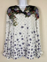 Chico's Womens Size 2 Floral Polka Dot Button Up Shirt Long Sleeve - $17.82