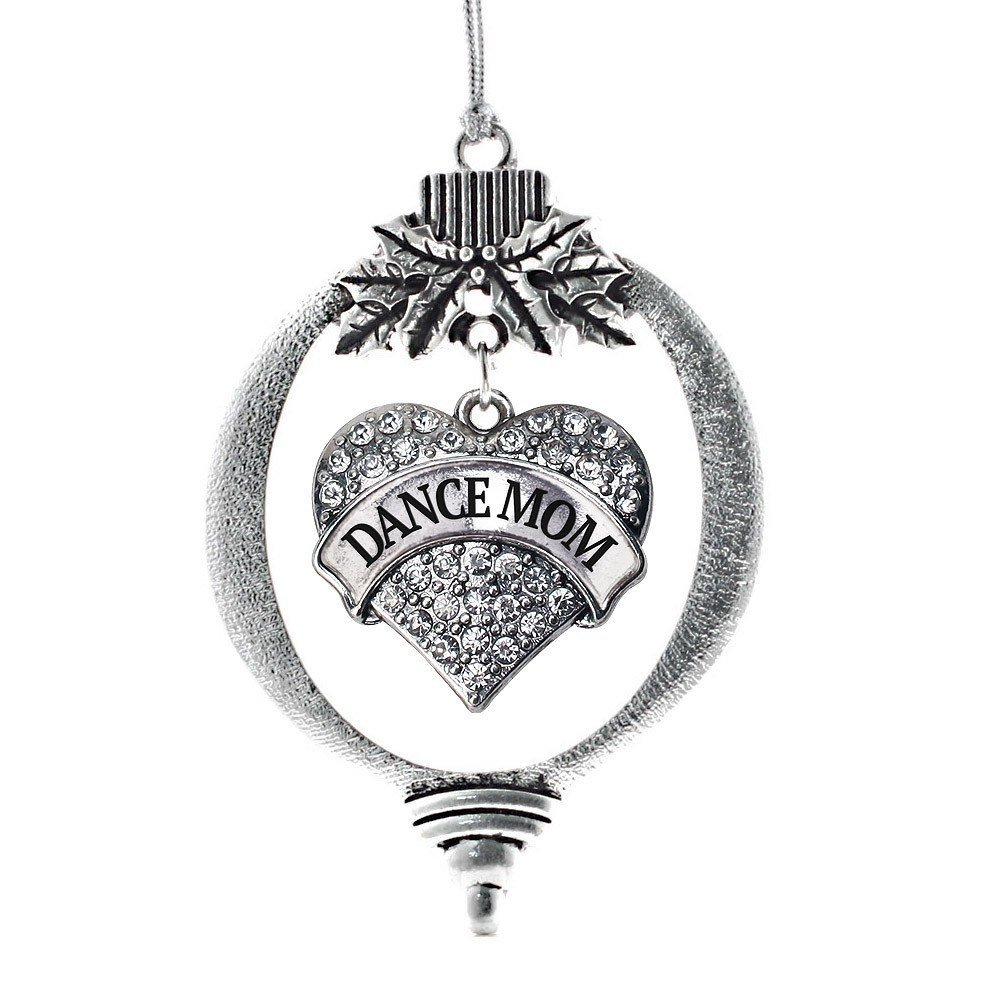 Primary image for Inspired Silver Dance Mom Pave Heart Holiday Christmas Tree Ornament With Crysta